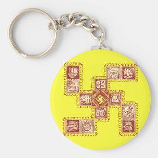 Indian Traditional Swastika Basic Round Button Keychain