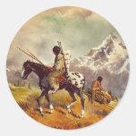 INDIAN TRAVOIS by SHARON SHARPE Round Stickers