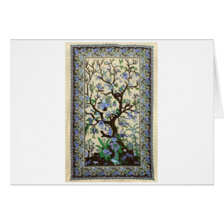 INDIAN TREE OF LIFE BLUE FLOWERS GREETING CARD