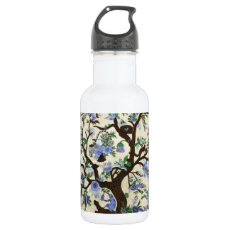 INDIAN TREE OF LIFE BLUE FLOWERS STAINLESS STEEL WATER BOTTLE