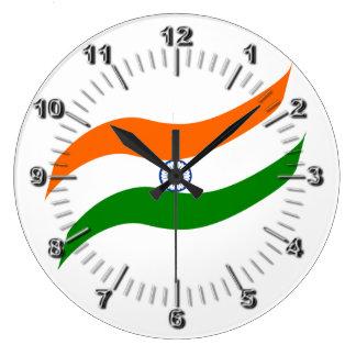 Indian undulating flag large clock