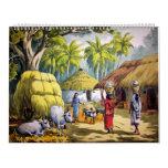 Indian village painting calendar