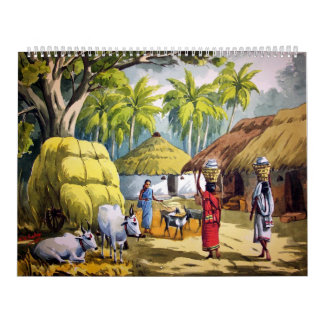 Indian village painting calendar
