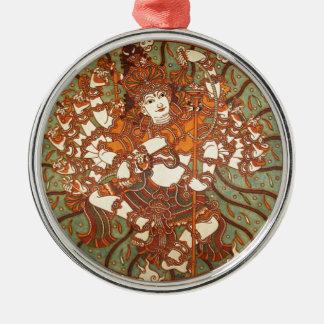 INDIAN VINTAGE MYTHOLOGY MURAL ROUND METAL CHRISTMAS ORNAMENT