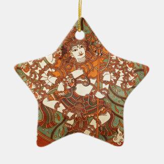 INDIAN VINTAGE MYTHOLOGY MURAL Double-Sided STAR CERAMIC CHRISTMAS ORNAMENT