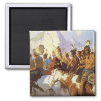 Indian War Party by NC Wyeth, Vintage Western Art 2 Inch Square Magnet