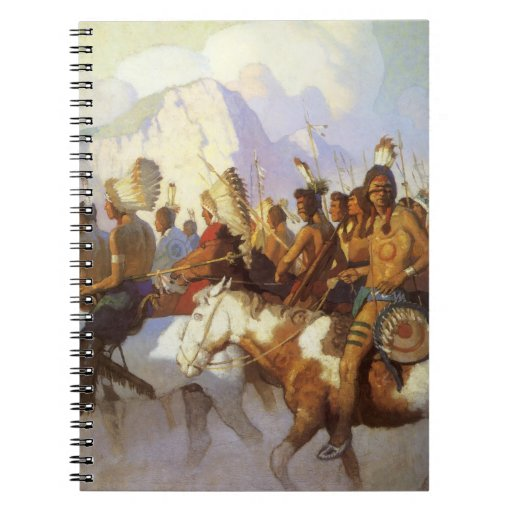 Indian War Party by NC Wyeth, Vintage Western Art Spiral Notebook