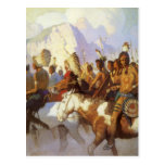 Indian War Party by NC Wyeth, Vintage Western Art Postcards