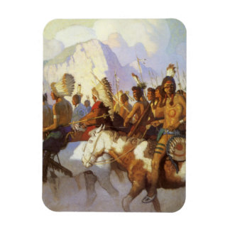 Indian War Party by NC Wyeth, Vintage Western Art Rectangular Photo Magnet