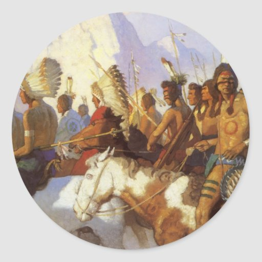 Indian War Party by NC Wyeth, Vintage Western Art Classic Round Sticker
