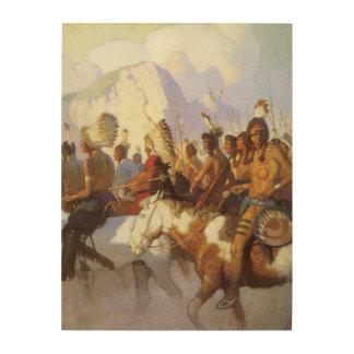 Indian War Party by NC Wyeth Vintage Western Art Wood Prints