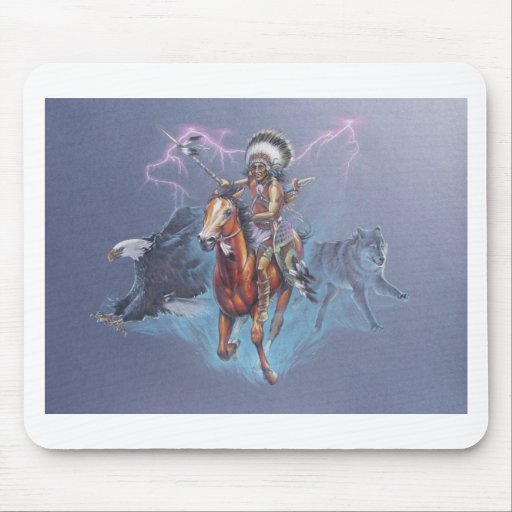 Indian Warrior in Battle Mouse Pad