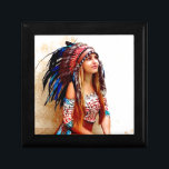 "Indian warrior jewelry box<br><div class=""desc"">American,  native,  tribal,  Indian warrior,  with vibrant coloured feather headdress,  female,  woman,  girl</div>"