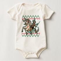 Indian Warrior on Horse Baby Bodysuit