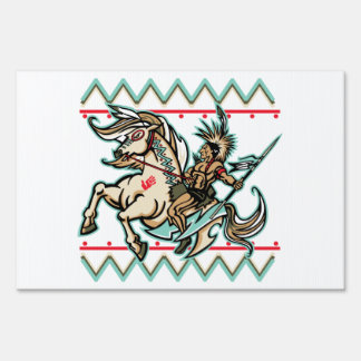 Indian Warrior on Horse Yard Sign