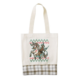 Indian Warrior on Horse Zazzle HEART Tote Bag