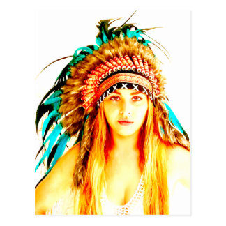 Indian warrior postcard