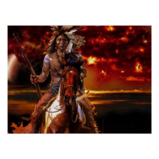 Indian Warrior Riding through the fire Poster