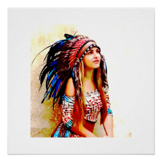 Indian warrior vibrant colours poster