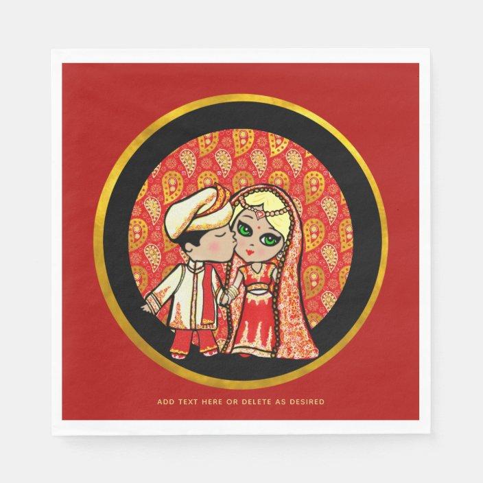 Indian Wedding Blonde Bride Cute Cartoon Custom Napkins Zazzle Com