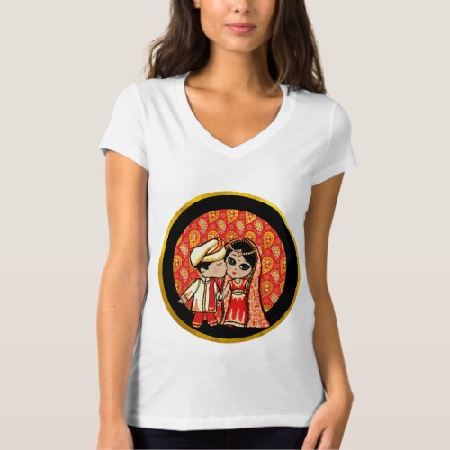 Indian Wedding Cute Bride Groom Cartoon Customized T_Shirt