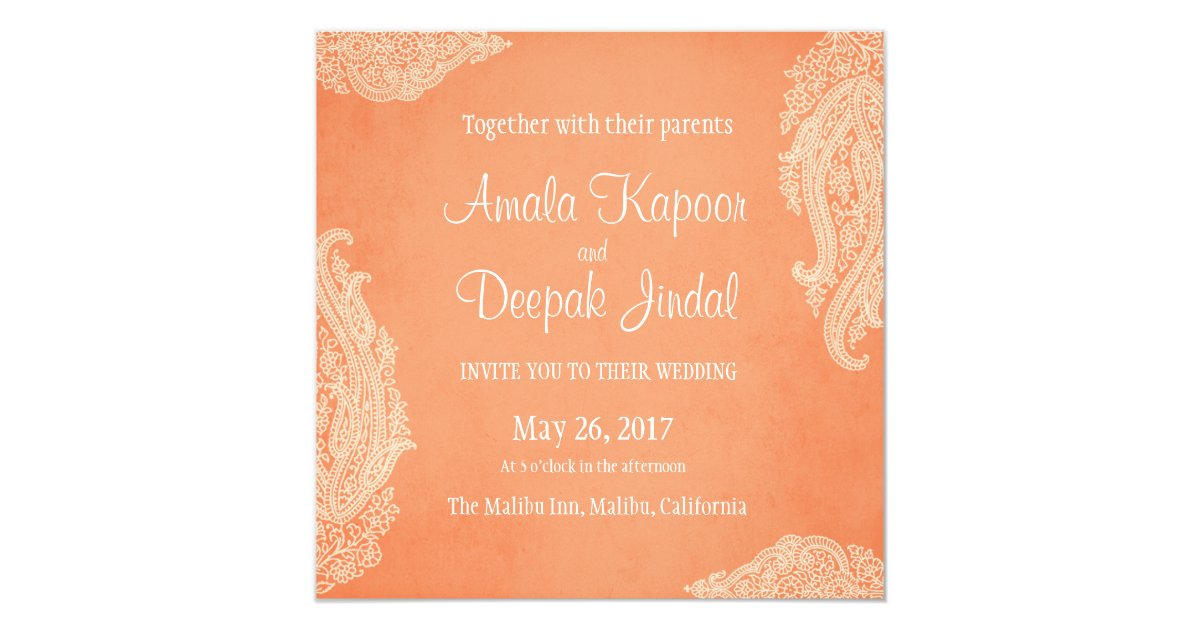 Indian Wedding Invitation, Gold, Hindu Wedding Invitation   Zazzle.com