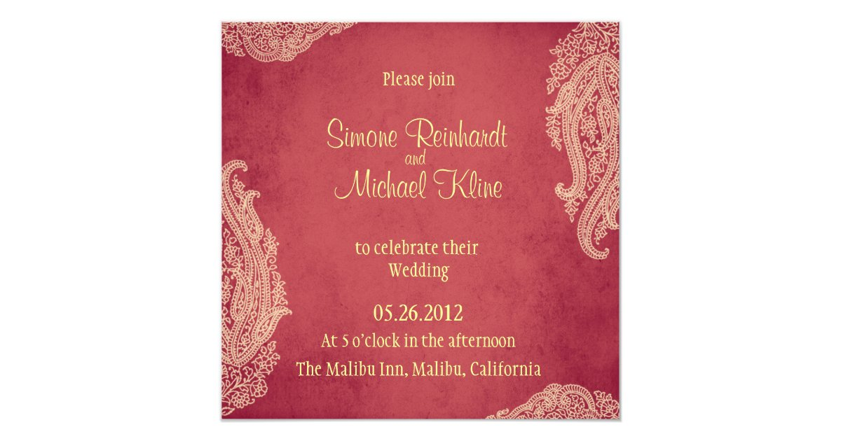 Indian Wedding Invitation Hindu Mehndi red gold Invitation Zazzle com