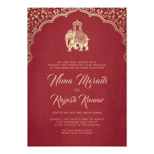 Indian Wedding Invitation, Red, Gold, Ganesha Invitation ...