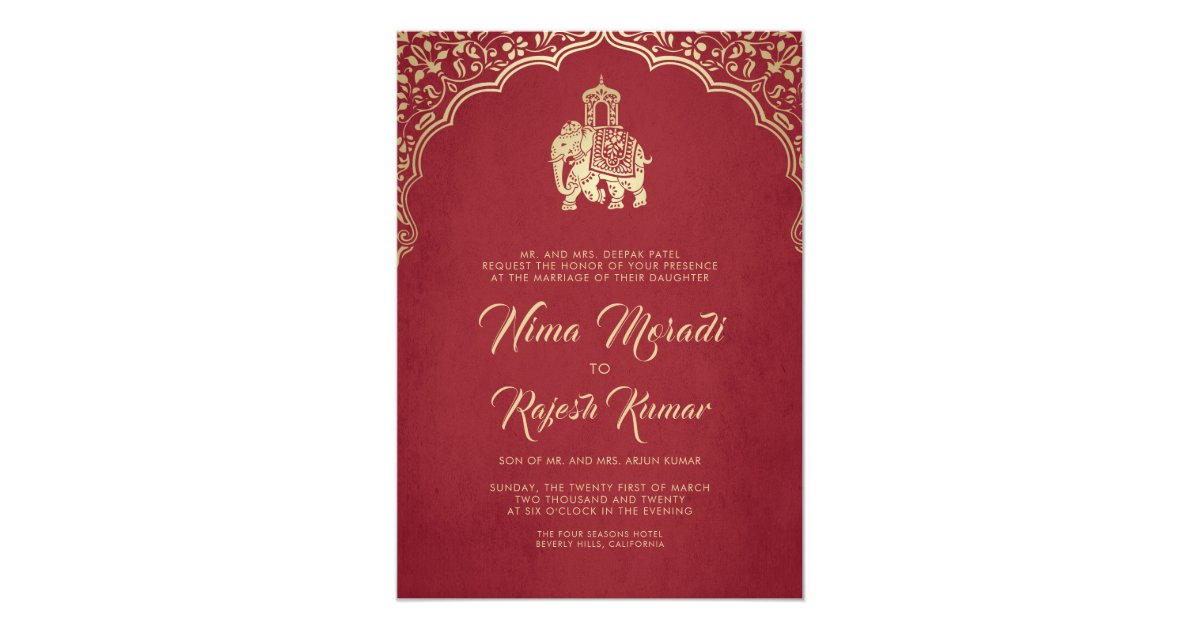 Purple Indian Wedding Invitations: Indian Wedding Invitation, Red, Gold, Ganesha Invitation