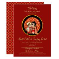 Indian Wedding Invitations Cute Bride Groom Cartoo