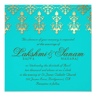 Indian Wedding Invite Damask Gold Autumn Teal