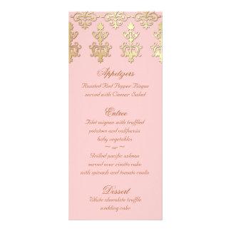 Indian Wedding Menu Cards Baby Pink Gold Damask