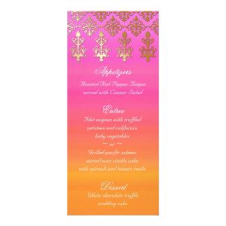 Indian Wedding Menu Cards Pink Orange Gold Damask Rack Card
