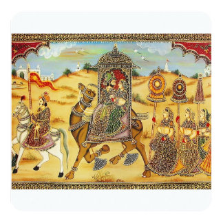 Indian wedding procession on camels 5.25x5.25 square paper invitation card