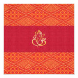 Indian Wedding Red And Orange Batik Pattern 5.25x5.25 Square Paper Invitation Card