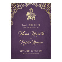 Indian Wedding, Save The Date, Blue, Gold, Ganesha Card