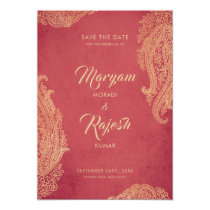 Indian Wedding, Save The Date, Red, Gold, Mehndi Card