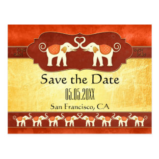 Indian White Elephants Save the Date Postcard