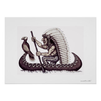 Indian with eagle graphic art poster