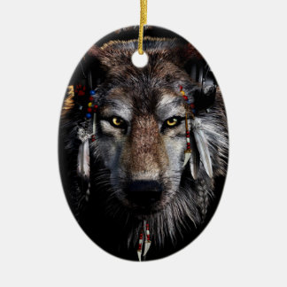 Indian wolf - gray wolf ceramic ornament