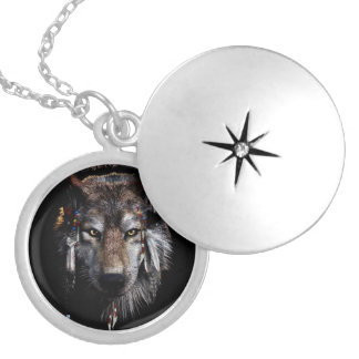 Indian wolf - gray wolf locket necklace
