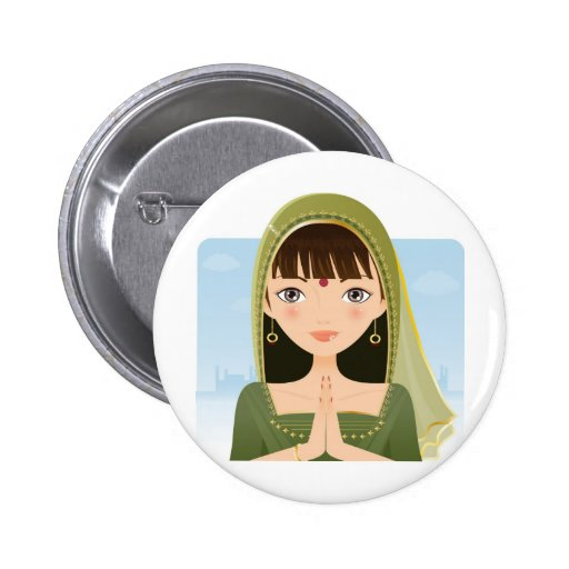 Indian woman 2 inch round button