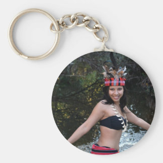 Indian Woman Dancing Basic Round Button Keychain