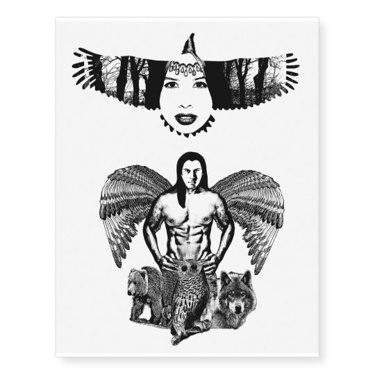 Indian Woman Eagle Man Angel Animals Art Temporary Tattoos Zazzlecom