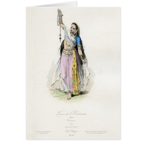 Indian Woman Traditional Costume Greeting Card