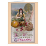 Indian Woman with Turkey Vintage Thanksgiving Card