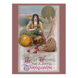 Indian Woman with Turkey Vintage Thanksgiving Postcard