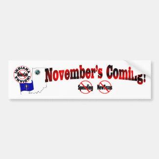 Indiana Anti ObamaCare – November's Coming! Bumper Sticker