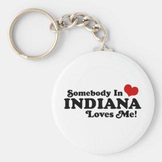 Indiana Basic Round Button Keychain