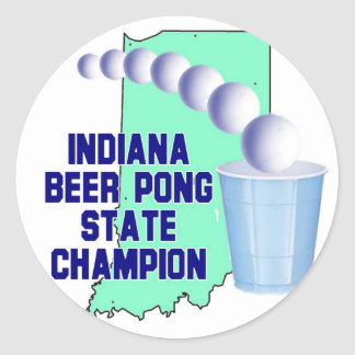 Indiana Beer Pong Champion Classic Round Sticker